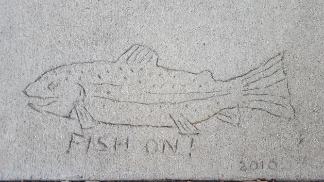 Fish Mural Cement Stamp